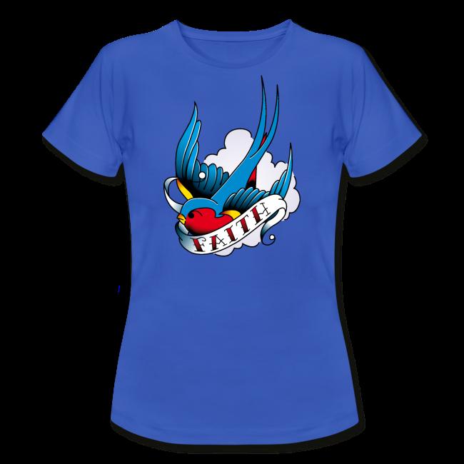 Hirondelle Espoir sur T-shirt pour femmes, coupe près du corps, 100% coton couleur bleu royal