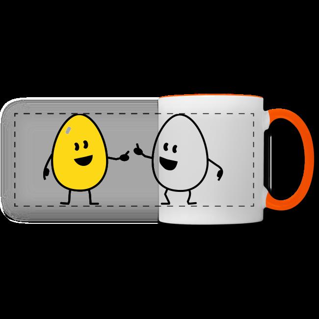 Oeuf shifumi sur Tasse - Mug en céramique contrasté orange et blanc à personnaliser