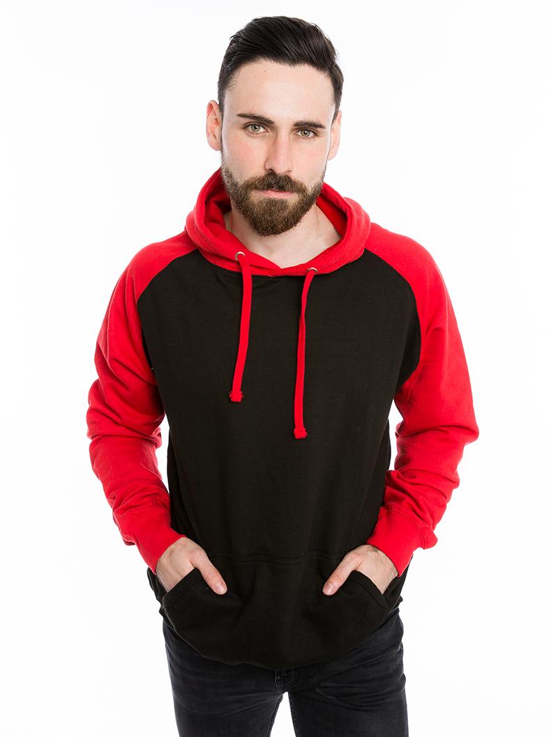 Sweat-shirt à capuche dans le style baseball pour femmes et hommes (unisexe) rouge et noir