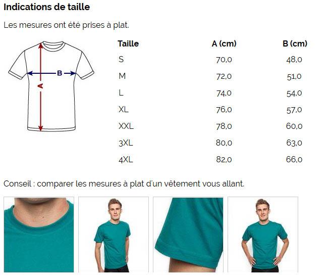 T-shirt coupe classique pour hommes, 100 % coton - Taille