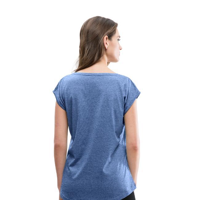 T-shirt à manches retroussées pour femme - vue dos -couleur bleu jeans chiné - tshirtchicetchoc
