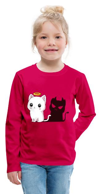 Chat mi-ange mi-démon sur T-shirt manches longues Premium Enfant Filles et Garçons (unisexe)