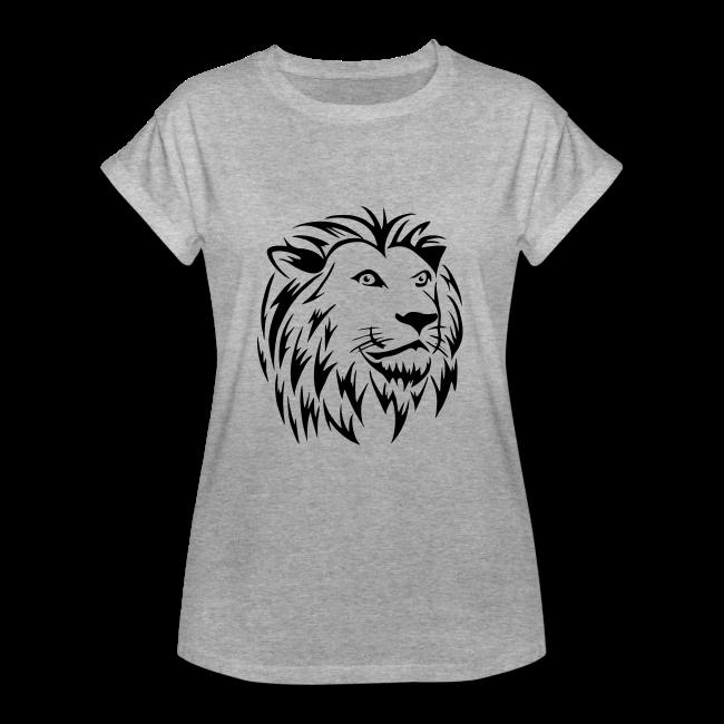 Lion Tribal sur T-shirt oversize coupe longue Manches à bord retroussé pour femmes couleur gris chiné