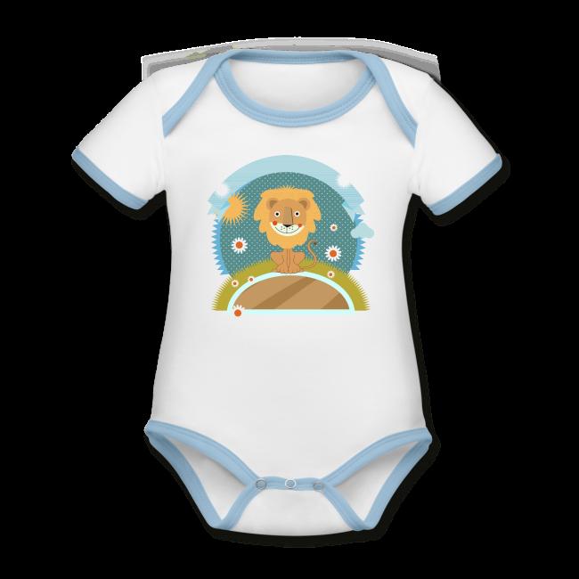 Lion mignon sur Body Bébé contrasté à manches courtes et 100 % coton bio couleur blanc - bleu clair