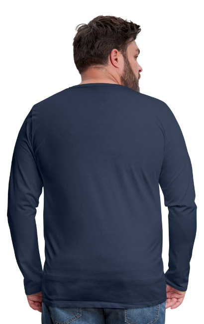 T-shirt manches longues Premium Homme couleur bleu marine vue dos