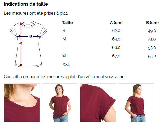 T-shirt oversize Femme 100 % coton - Taille