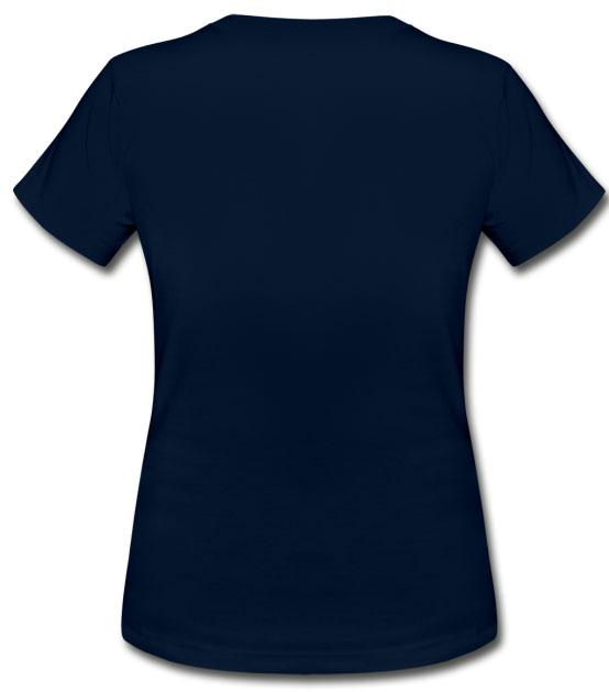 T-shirt pour femmes coupe près du corps 100% coton couleur bleu marine vue dos
