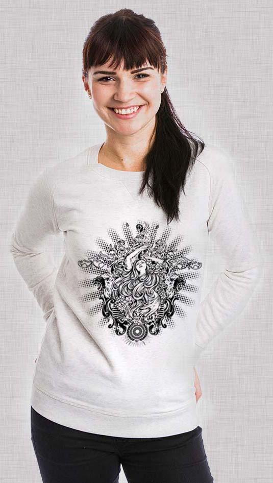 Tatouage rockabilly Anges gardien femme design lion sur pull pour femme de Stanley & Stella