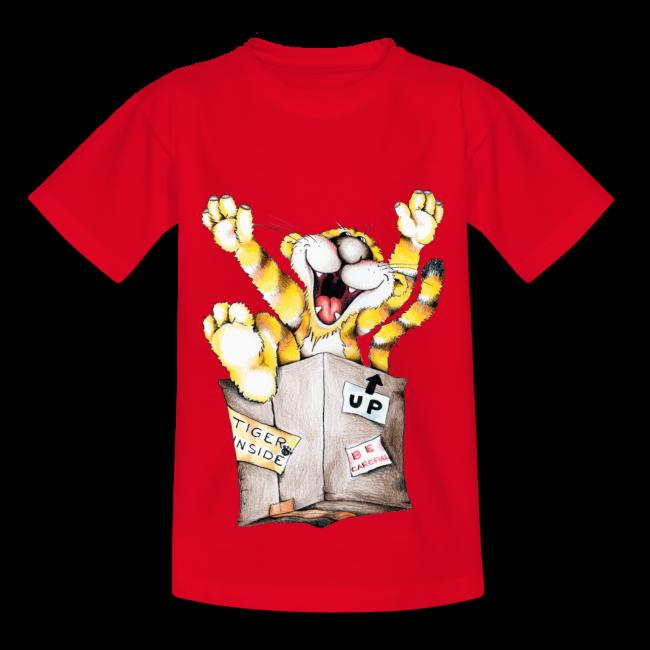 Tiger inside sur T-shirt pour enfants, 100 % coton couleur rouge t-shirt chic et choc