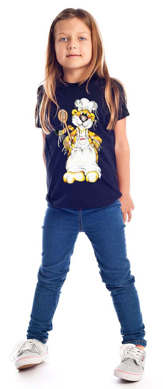 Tigre cuisinier sur T-shirt unisexe pour enfants fille et garçon, 100 % coton couleur bleu marine t-shirt chic et choc