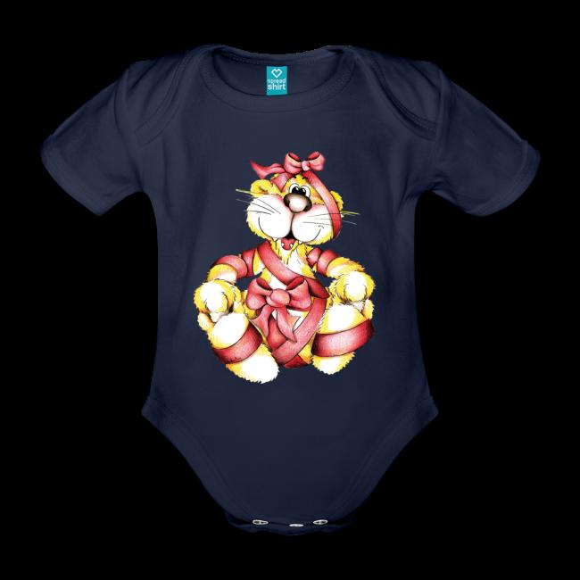 Tigre mignon avec ruban rouge sur Body bébé à manches courtes, 100 % coton bio couleur marine foncé