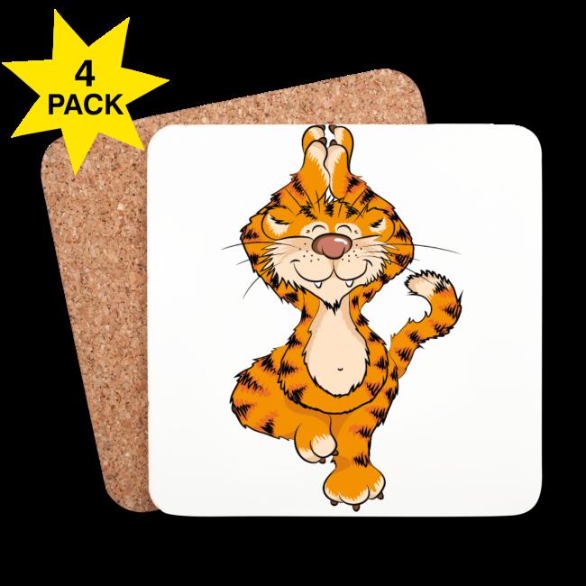 Tigre yoga sur Dessous de verre en liège laqué brillant (lot de 4)