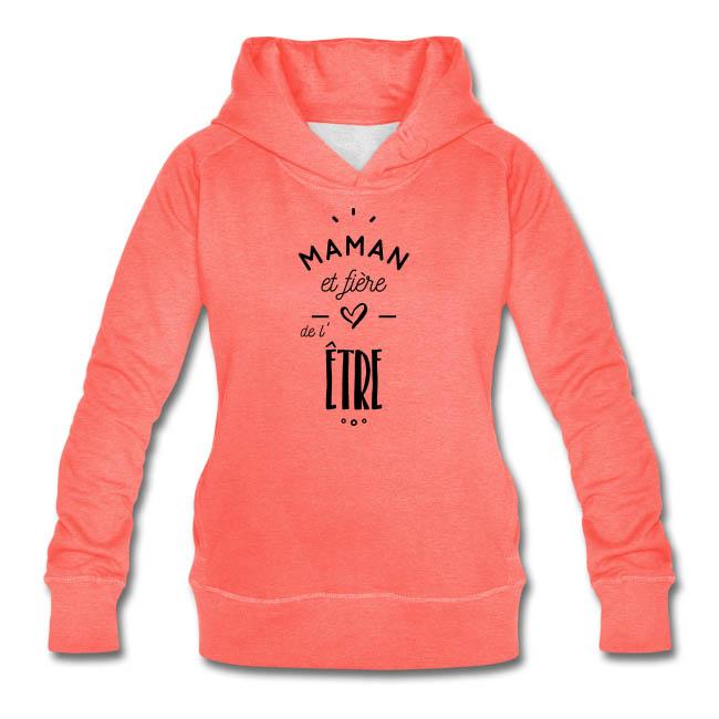 Maman et fière de l'être sur Sweat-shirt à capuche à manches raglan Stanley & Stella Femme couleur rouge chiné - tshirtchicetchoc