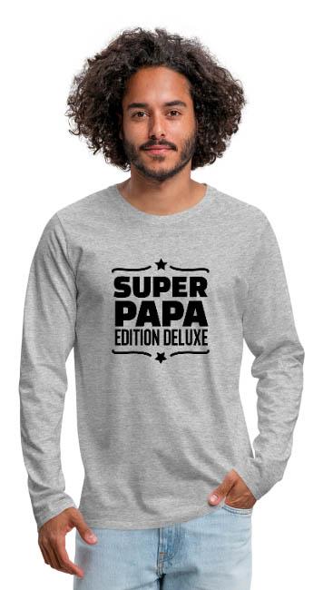 Super papa édition deluxe sur T-shirt manches longues Premium Homme couleur gris chiné - tshirtchicetchoc