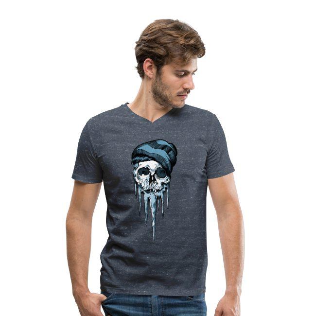 Crâne de snowboarder sur T-shirt bio col V Stanley & Stella Homme - tshirtchicetchoc