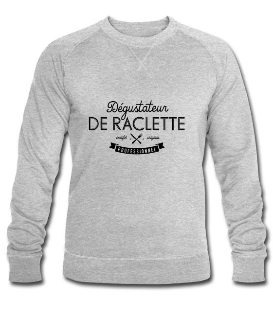 Dégustateur de raclette professionnel sur Sweat-shirt bio Stanley & Stella Homme gris chiné - tshirtchicetchoc