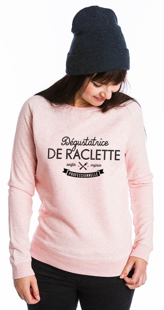 Dégustatrice de raclette professionnel sur Sweat-shirt bio Stanley & Stella Femme - tshirtchicetchoc