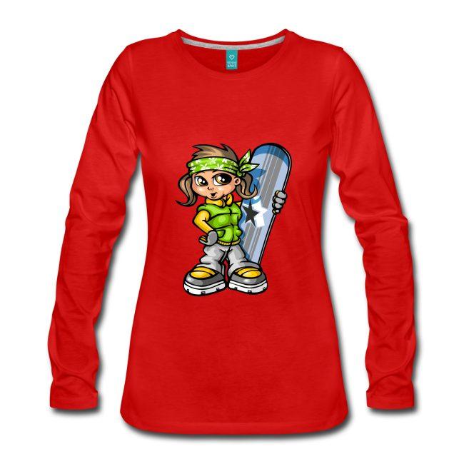 Fille avec snowboard sur T-shirt manches longues rouge Premium Femme - tshirtchicetchoc