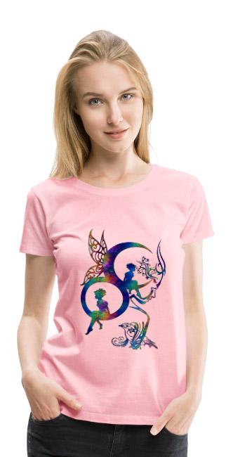 Haut clair de Lune by T-shirt chic et choc sur T-shirt légèrement cintrée couleur rose femmes