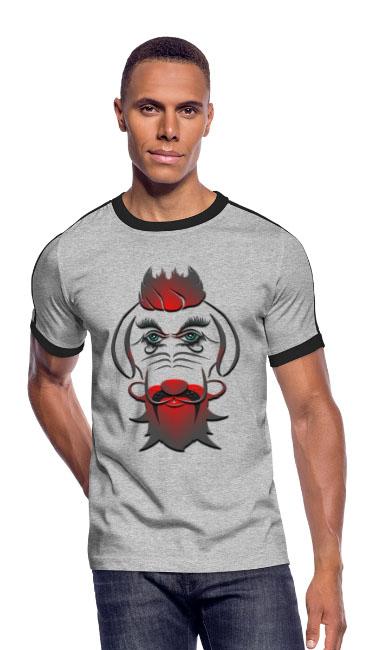 Hipster DOG Boy by T-shirt chic et choc sur T-shirt rétro coupe près du corps pour hommes couleur gris chiné