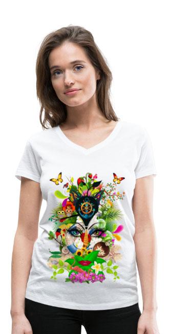 Parfum d'été by T-shirt chic et choc sur T-shirt bio col V Stanley & Stella Femme couleur blanc