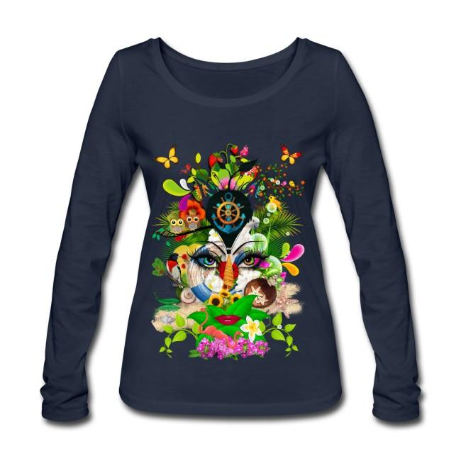 Parfum d'été by T-shirt chic et choc sur T-shirt manches longues bio Stanley & Stella Femme couleur marine