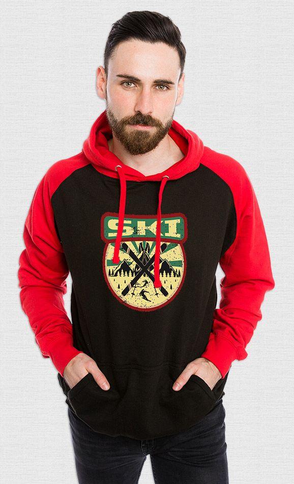 Ski Propagande et sports d'hiver sur Sweat-shirt baseball unisexe - rouge et noir - tshirtchicetchoc
