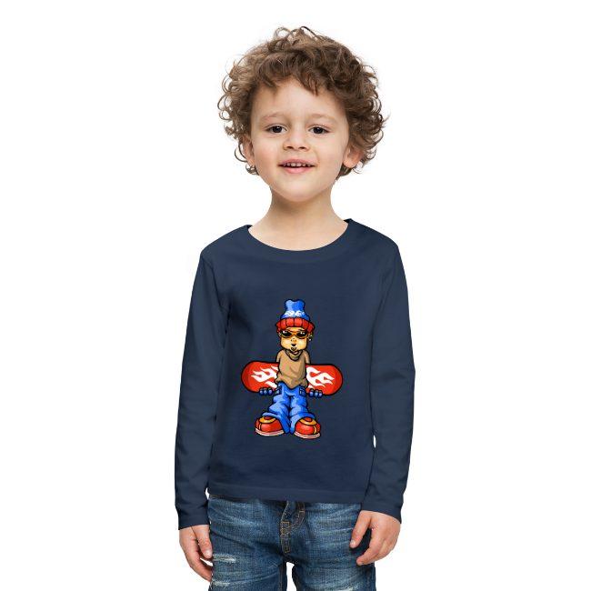 Snowboarder sur T-shirt manches longues Premium Enfant - tshirtchicetchoc
