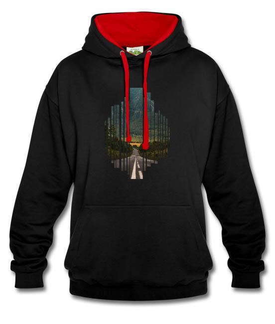 Sweat-shirt contraste à capuche unisexe couleur noir-rouge - tshirtchicetchoc