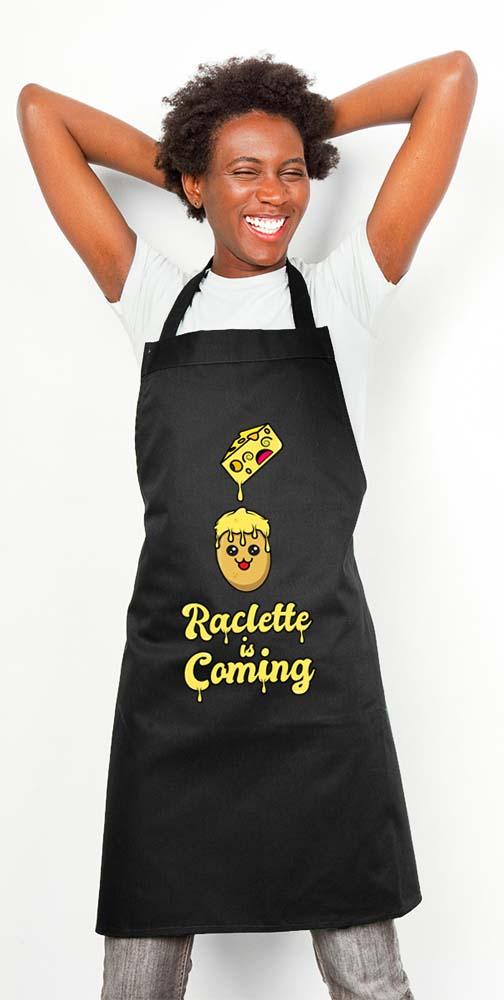Tablier de cuisine couleur noir, 100 % coton motif Raclette Is Coming - tshirtchicetchoc