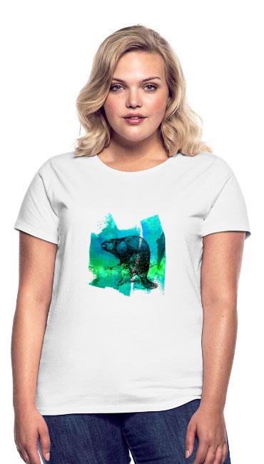 Castor sur T-shirt Premium coupe classique pour Femmes, 100 % coton couleur blanc - tshirtchicetchoc