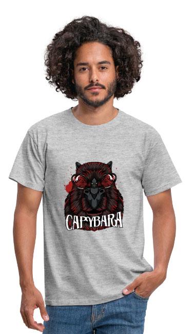 Cool Capybara sur T-shirt coupe classique pour hommes, 100 % coton B&C couleur gris - tshirtchicetchoc