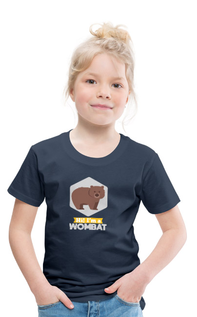 Hi i'm a Wombat sur T-shirt Premium Enfant 100 % coton couleur bleu marine - tshirtchicetchoc