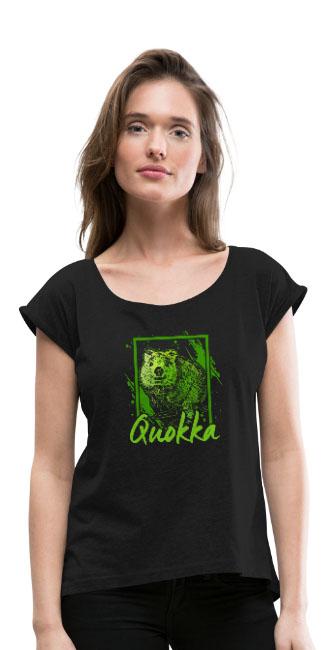 Quokka sur T-shirt à manches retroussées Femme couleur noir - tshirtchicetchoc