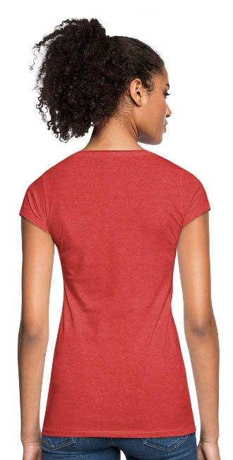 T-shirt à col V vintage look destroyed pour femmes couleur rouge chiné - vue dos