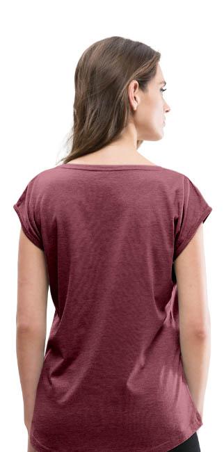 T-shirt à manches retroussées pour femme - vue dos - couleur rouge bordeaux chiné - tshirtchicetchoc