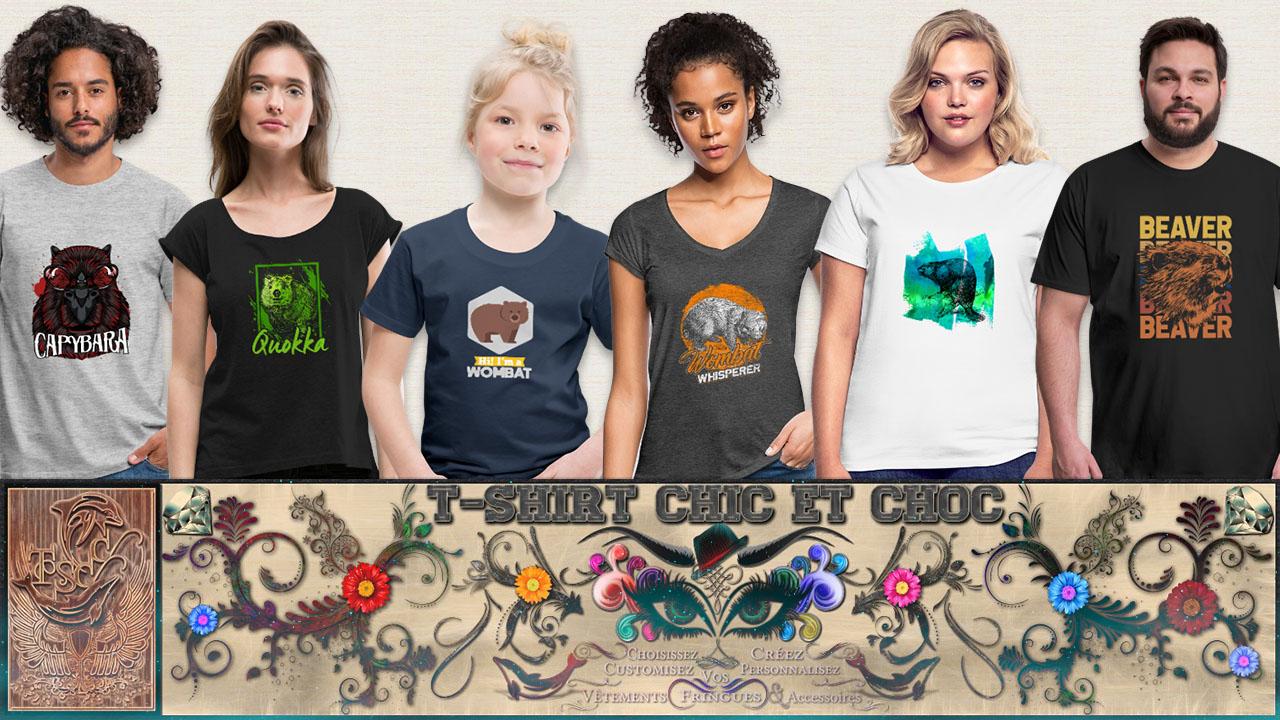 T-shirt capybara, quokka, wombat, beaver, castor - tshirtchicetchoc