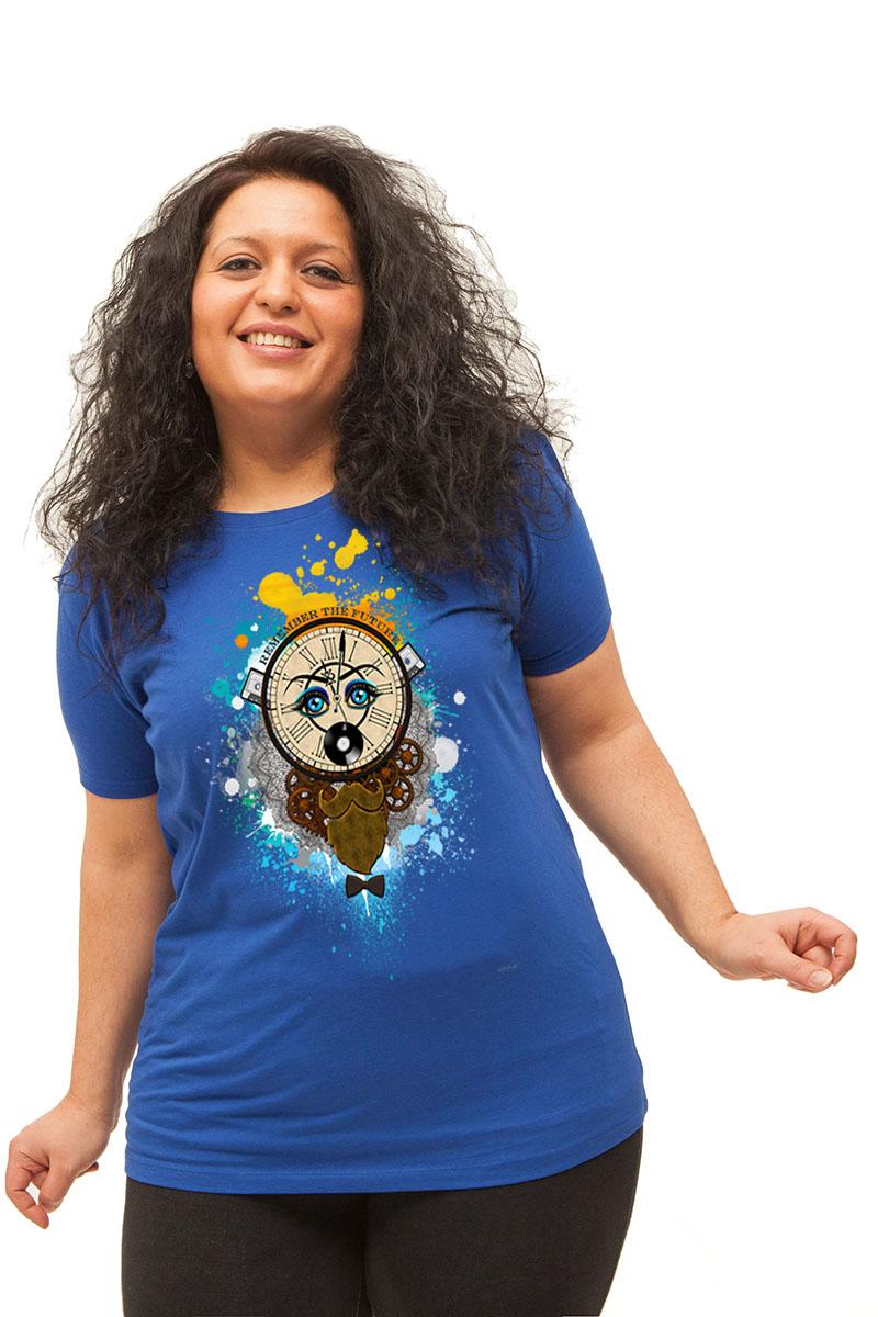 """""""Remember the future"""" sur T-shirt pour femmes, coupe près du corps, 100% coton"""
