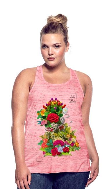 Lady flower by T shirt chic et choc sur Débardeur pour femme rouge marbré de Bella