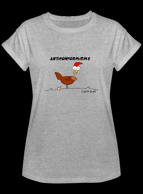 Poule anticonformiste sur T-shirt oversize coupe longue Manches à bord retroussé pour femmes couleur gris chiné