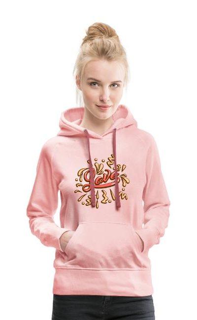 Sweat-shirt à capuche pour femmes molletonné et chaud  Love Amour amor