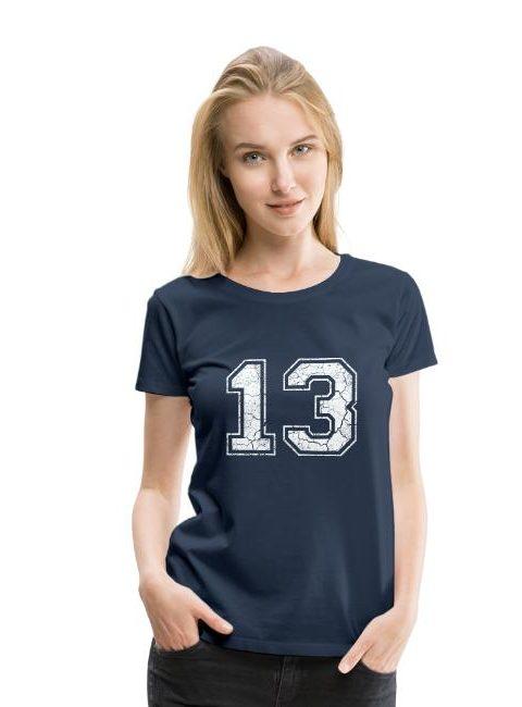 T-shirt Premium légèrement cintrée pour femmes 100 % coton chiffre 13