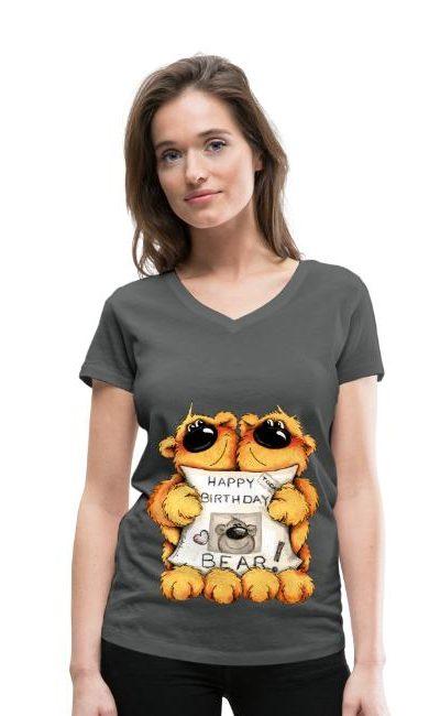 T-shirt col V légèrement cintré pour femmes avec un petit col V. 100 % coton bio, marque Stanley & Stella