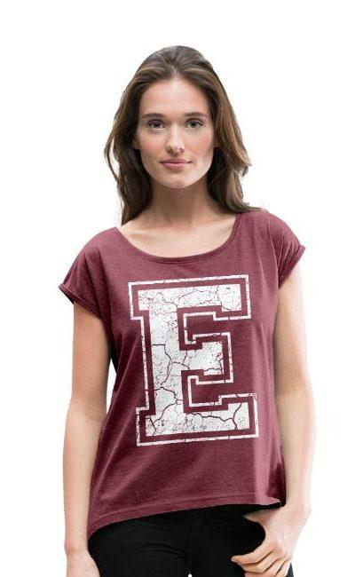 T-shirt décontracté à manches retroussées Femme