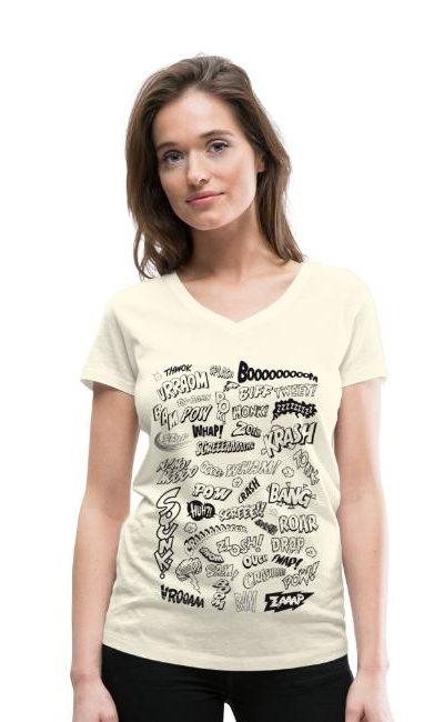 T-shirt légèrement cintré pour femmes avec un petit col V. 100 % coton bio, marque Stanley & Stella