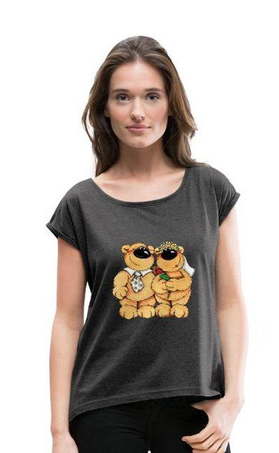 T-shirt manches retroussées Femme