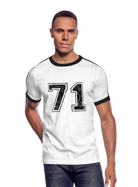 T-shirt rétro coupe près du corps avec deux bandes de couleur pour hommes, 100% coton